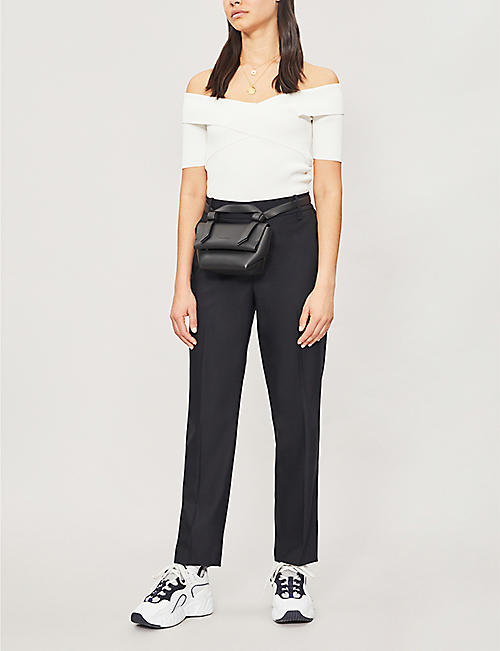SANDRO Off-the-shoulder stretch-knit jumper