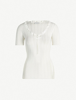 SANDRO Frill-trim knitted top