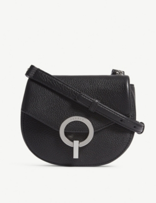 SANDRO Pepita grained leather shoulder bag