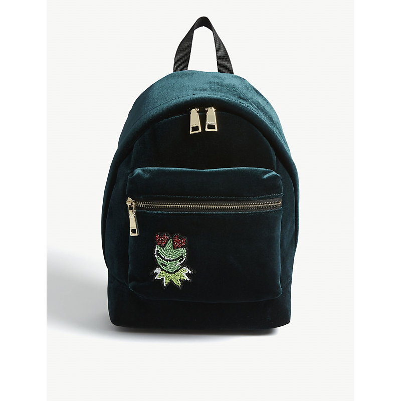 Kermit The Frog Velvet Backpack, Forest Green