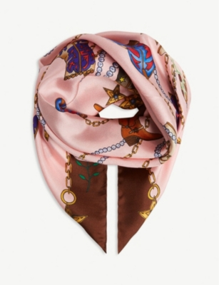 SANDRO Country silk scarf