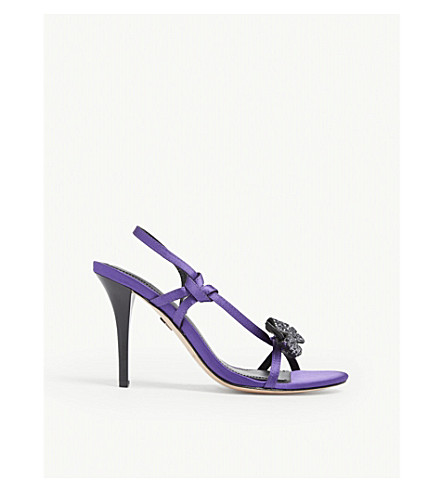 Sandro Olimpia Embellished Bow Strappy Sandals In Purple
