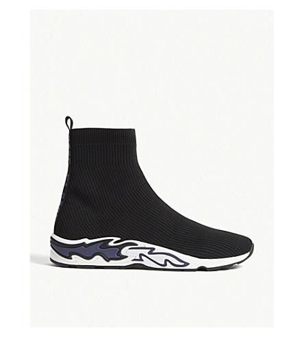 Sandro Flame Sole Sock Sneakers In Noir Bleu