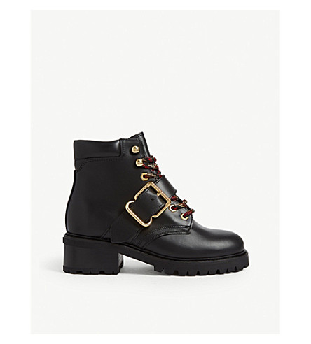 Sandro Grant Leather Ranger Boots In Black