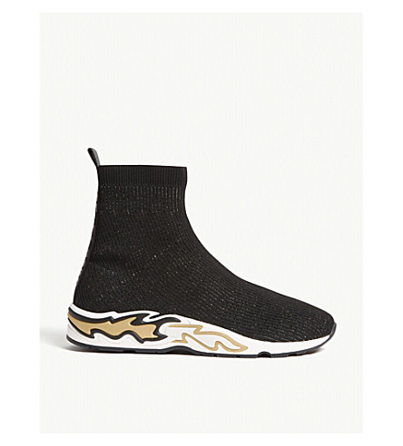 Sandro Flame Sole Sock Sneakers In Black Gold