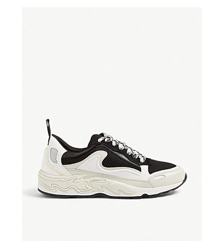 Sandro Flame Leather And Mesh Trainers In Storm