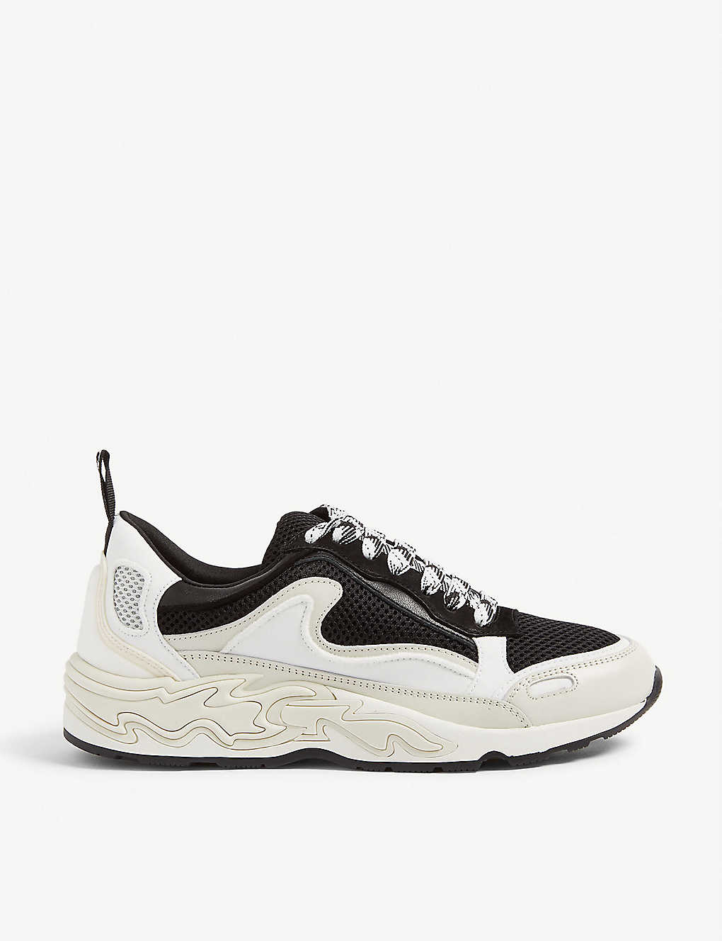 SANDRO: Flame leather and mesh trainers