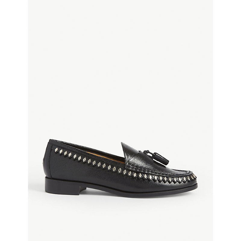 Sandro Crinkled Leather Tasselled Loafers In Black