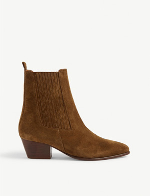 SANDRO Almond-toe suede ankle boots