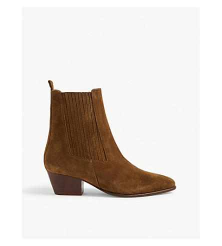 Sandro Almond-toe Suede Ankle Boots In Olive Green