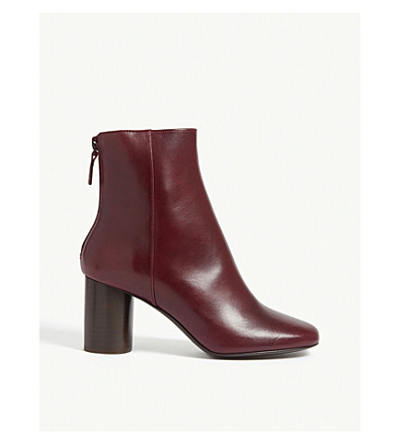 Sandro Sacha Leather Ankle Boots In Bordeaux