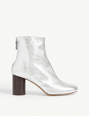 SANDRO Sacha metallic leather ankle boots