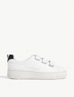 SANDRO Contrast-trim leather trainers