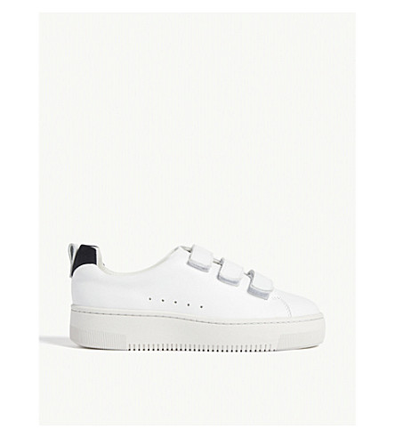 Sandro Contrast-trim Leather Trainers In Blanc