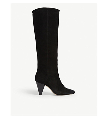 Sandro Dani Suede Knee High Boots In Black