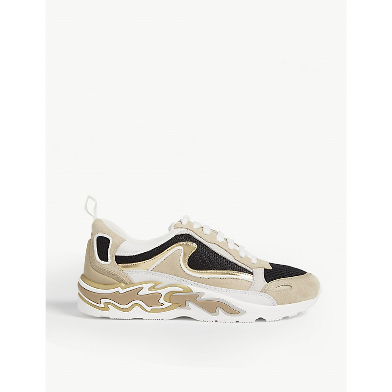Sandro Flame Leather And Mesh Trainers In Gold