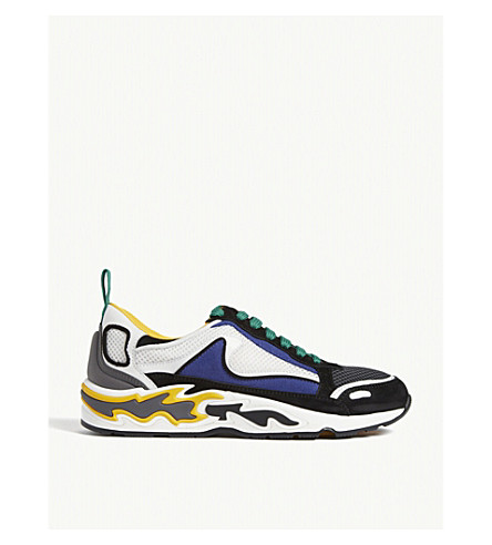 Sandro Flame-embossed Leather And Mesh Trainers In Yellow