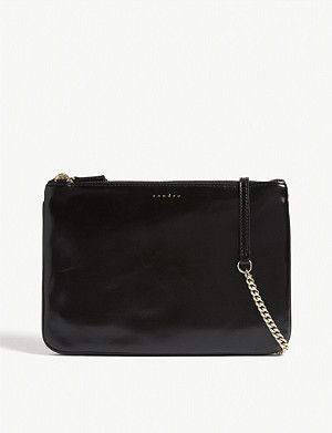 SANDRO Addict leather shoulder bag