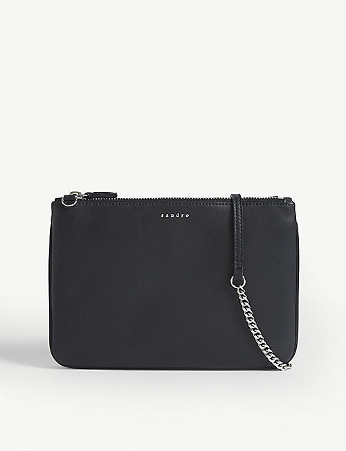 SANDRO Leather pouch bag