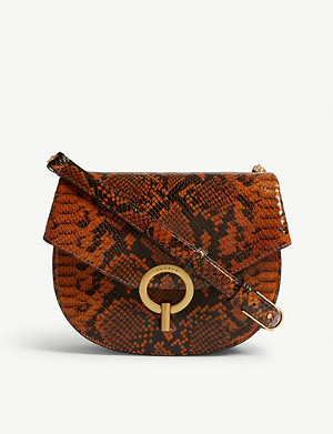 SANDRO Snake-embossed leather shoulder bag