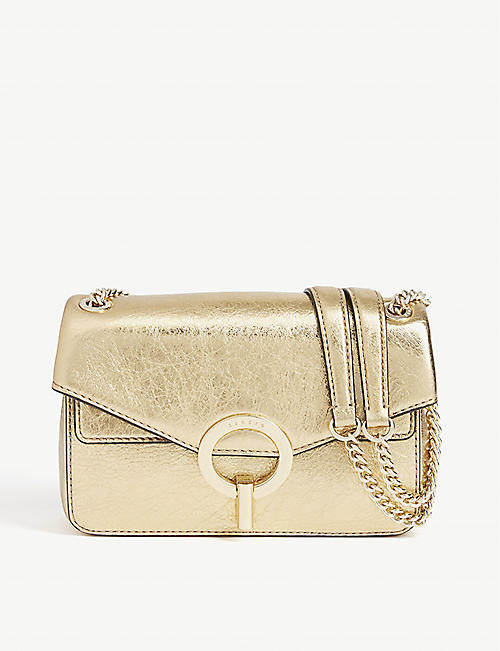 SANDRO: YZA metallic leather shoulder bag