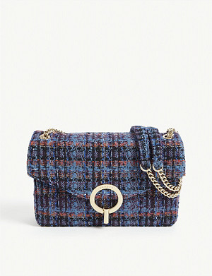 SANDRO Yza tweed shoulder bag