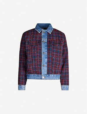 SANDRO Chelsy metallic-tweed and denim jacket