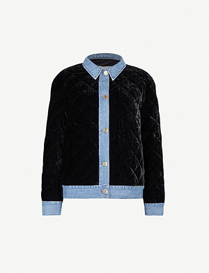 SANDRO Denim-trimmed quilted velvet jacket