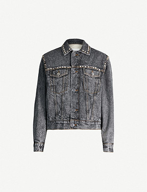 SANDRO Stud-trim denim jacket