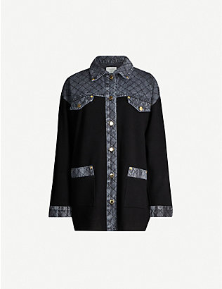 SANDRO: Denim-panel knitted cardigan