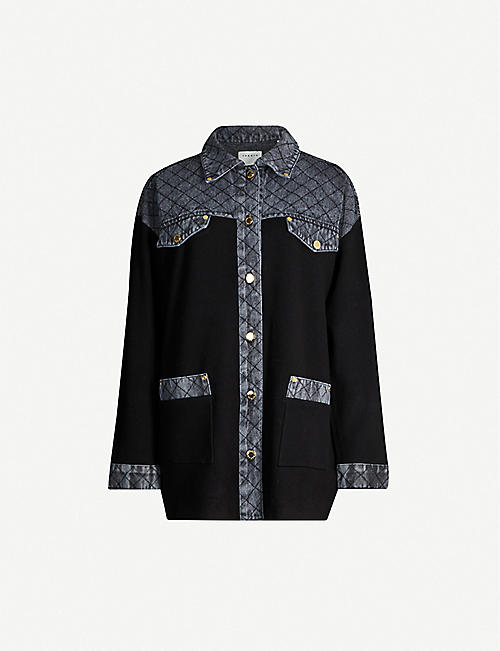 SANDRO Denim-panel knitted cardigan
