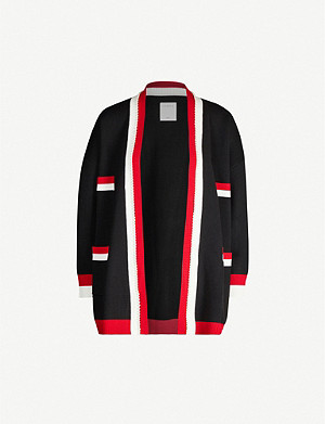 SANDRO Dave striped-trim knitted cardigan