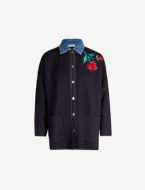 SANDRO Embroidered woven jacket