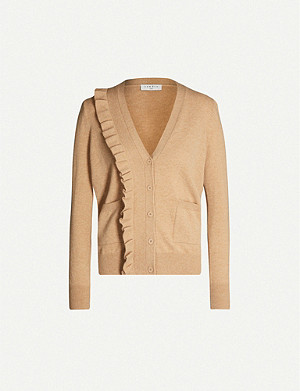 SANDRO Frilled-trim wool and cashmere-blend cardigan