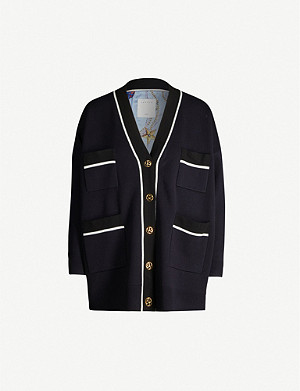 SANDRO Chelan stripe-trim knitted cardigan