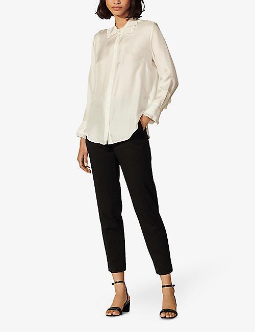 SANDRO Frill-trimmed satin-twill shirt
