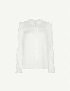 SANDRO Lace-trimmed crepe shirt