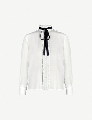 SANDRO Neck-tie silk-crepe shirt