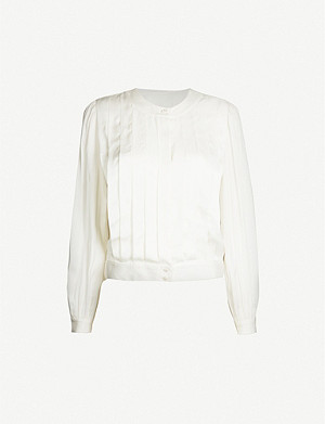 SANDRO Long-sleeved satin shirt