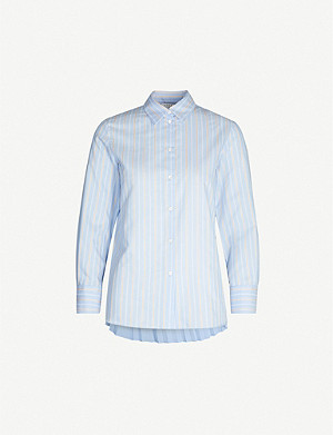 SANDRO Striped pleated-back cotton-blend and crepe shirt