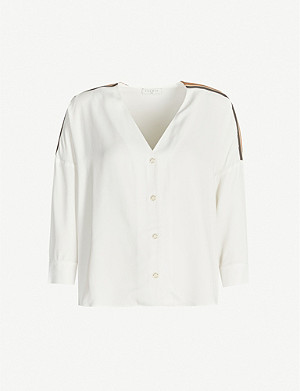 SANDRO Striped-trim stretch-twill shirt