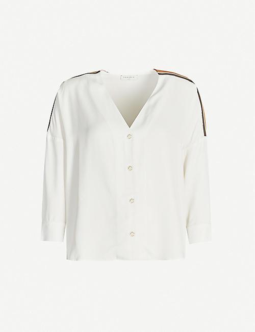 SANDRO Striped-trim stretch-twill shirt