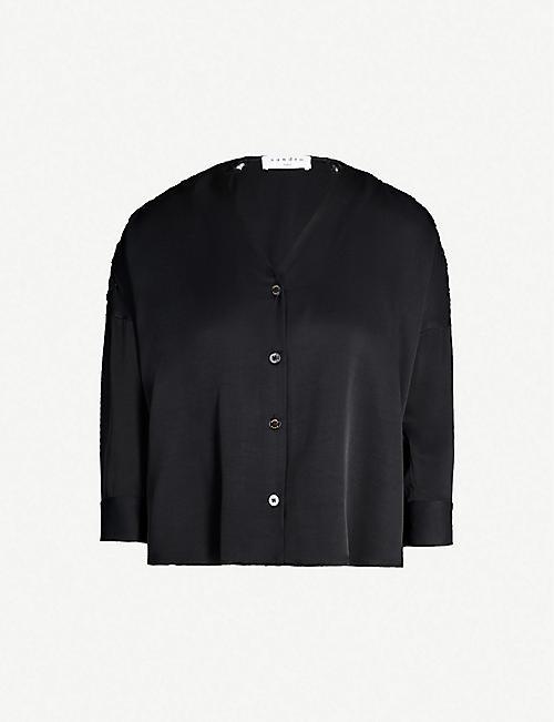 SANDRO Jasmine appliqué-detail satin shirt