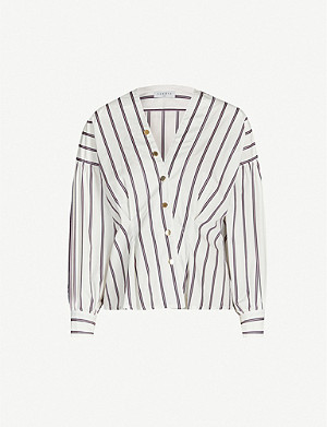 SANDRO Asymmetric-button striped cotton shirt
