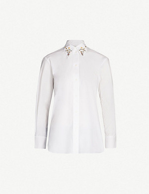 SANDRO Embellished-collar cotton shirt