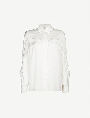 SANDRO Ruffled contrast-stitch satin shirt