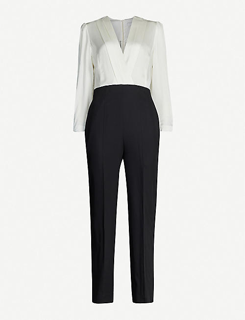 SANDRO Two-part satin and crepe jumpsuit