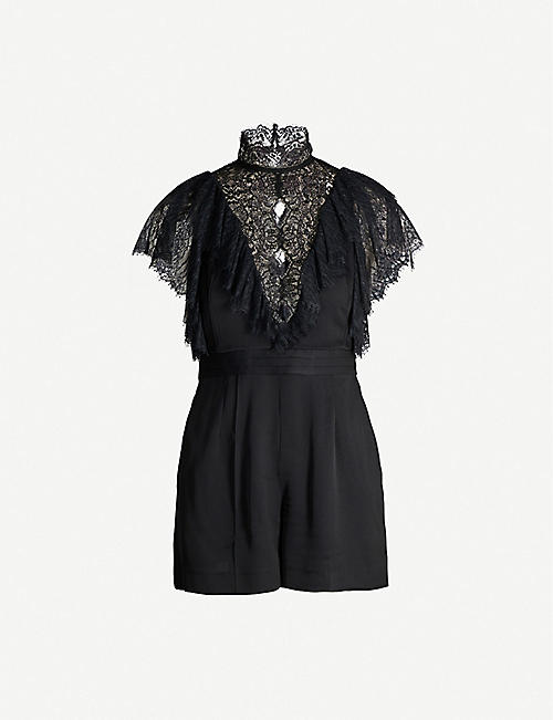 SANDRO Lace-embellished crepe playsuit