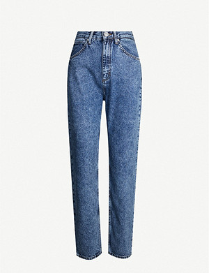 SANDRO Acid-wash cropped high-rise jeans