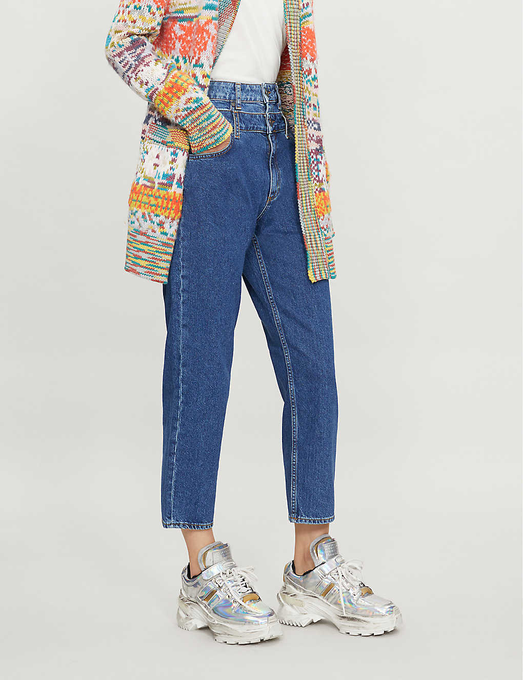SANDRO: High-rise double-layer jeans